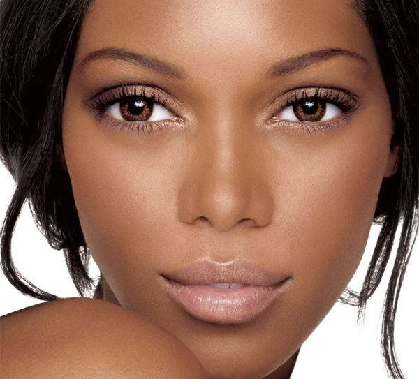 Lovely glowing makeup to highlight brown skin and eyes, nude lips. Cover for Boulevard mag?