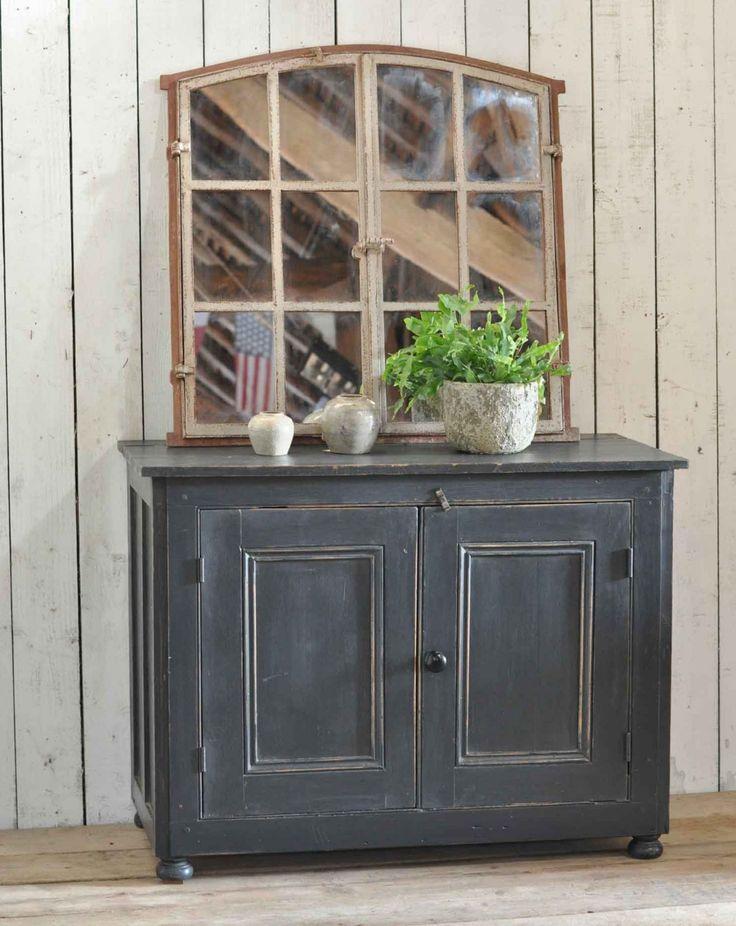 Antique Pine Two Door Cabinet With Dark Grey Paintwork. Fabulous office cupboard hallway console. Plenty of useful storage. Vintage Victorian hand painted two door cupboard. or Home Barn Interiors, Marlow.