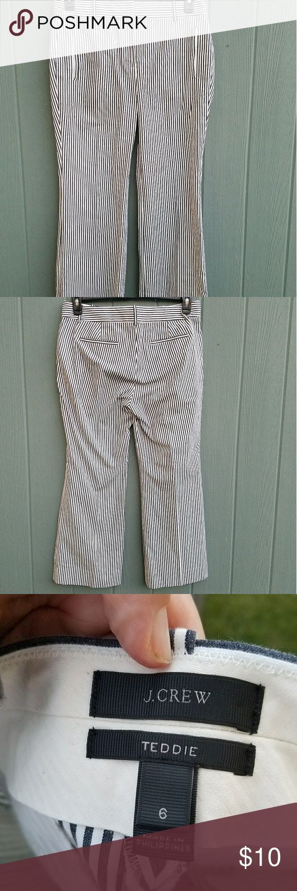 """J. Crew Teddie Seercucker Crop Pants Excellent condition.  Size 6. 25.5"""" inseam   Meet Teddie: Our new favorite pant is slightly cropped with a cool kickout hem and polished front pockets that are finished with hidden zippers (a little detail we really love). This one is crafted in classic seersucker, the fabric that's practically a synonym for summer. J. Crew Pants Ankle & Cropped"""