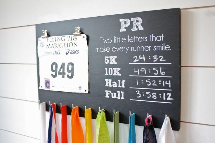 PR Chalkboard Race Bib and Medal Holder - 5K, 10K, Half, & Full