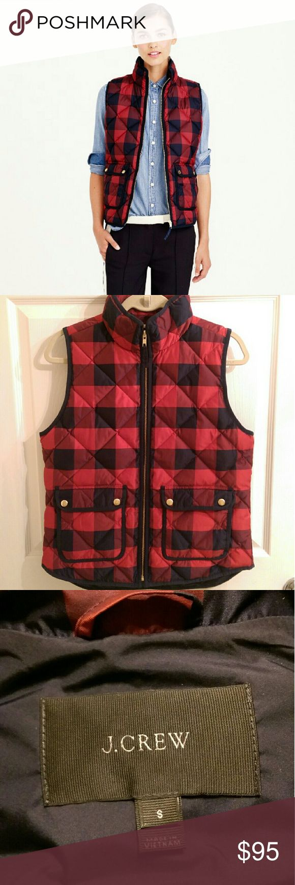 "NWOT J Crew Buffalo Check Excursion Vest New without tags J Crew Buffalo Check Excursion Vest. Size - Small. 24 1/2"" length. Lightweight down vest with sleek quilted design. Excellent layering piece. J. Crew Jackets & Coats Vests"