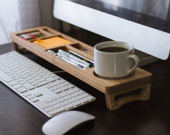 Large Desk Organizer Wood Desktop Organizer Office by lessandmore