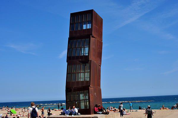 Tower on Barceloneta Beach in Barcelona Spain.  Travel photography by Diane Greene Lent
