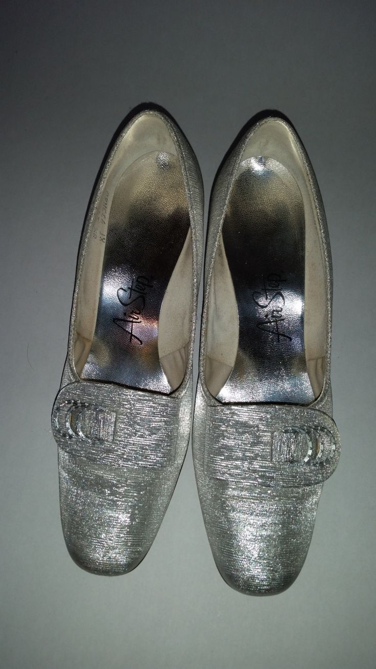 Mod Sparkly Silver Pumps 70's Formal Shoes Silver Metallic Fabric Low Chunky Heels Rhinestone Buckles Made by Air Step Size 8 1/2 M by ZoomVintage on Etsy