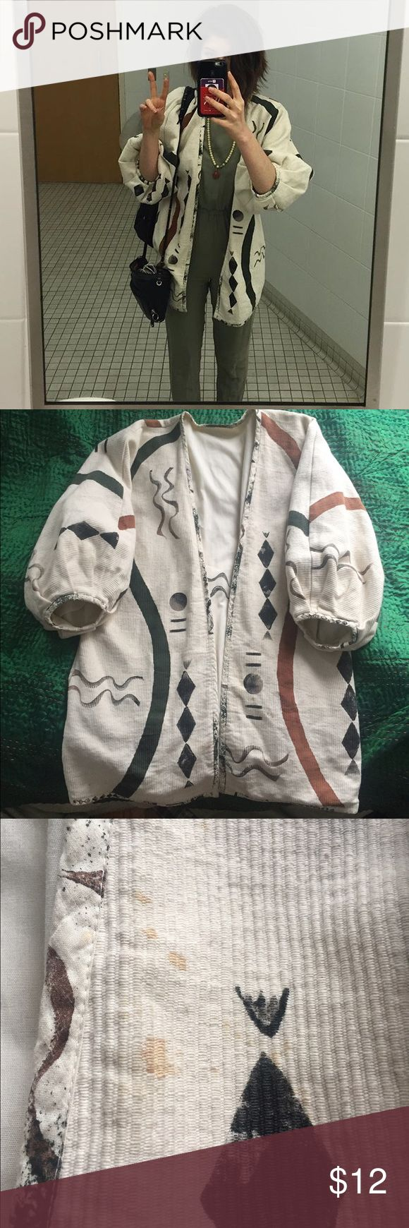 Vintage kimono jacket Super cozy and fluffy! Thrifted this in Austin, TX. it is vintage and has been worn quite a lot, price reflects the few discolorations and small stain on inside and out. Inside its just little pen / ink stains, outside is slightly rusty colored speckles. No huge stains or anything that would be truly noticeable though, never bothered me Vintage Jackets & Coats