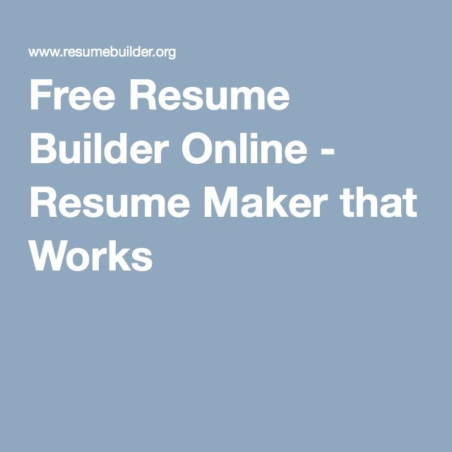 free resume builder online resume maker that works