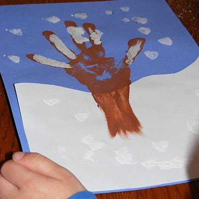 Easy hand print tree and snow craft for kids!