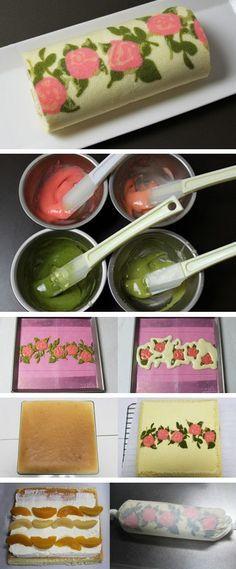 Japanese Rose Cake Roll Tutorial http://thecakebar.tumblr.com/post/59702517746/japanese-rose-cake-roll-tutorial