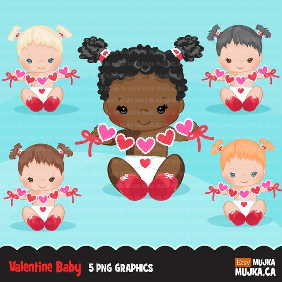 Valentine S Day Baby Clipart Cute Baby Girls With Heart Etsy Valentines Day Baby Scrapbooking Set Clip Art