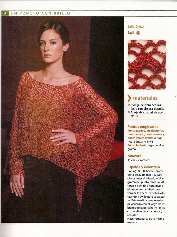 1074 best ponchos crochet images on Pinterest | Chal, Chal de ...