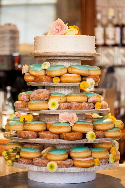 Tiered doughnut wedding cake might be the best idea ever | Ashlyn Dawson Photography