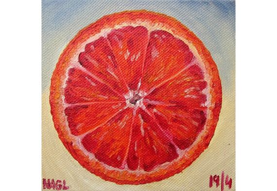 Blood Orange (April 2014) original still life oil painting study on box canvas on Etsy, £60.00