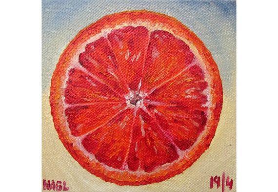 Blood Orange (April 2014) original still life oil painting study on box canvas on Etsy, £60.00
