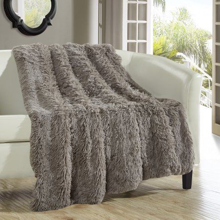 chic home 1 piece juneau shaggy faux fur super soft ultra plush decorative throw blanket - Decorative Throw Blankets