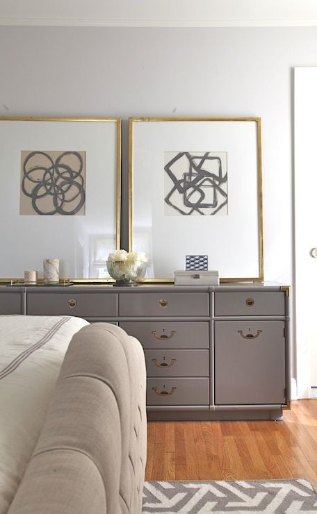 Rosa Beltran Design - bedrooms - Benjamin Moore - Eagle Rock - Benjamin Moore Shoreline, gray dresser, campaign dresser, gray campaign dress...