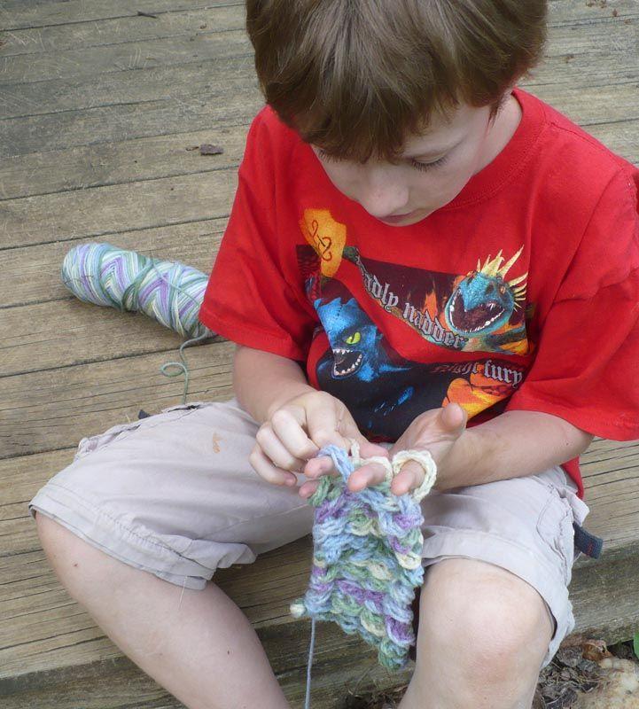 The Enchanted Tree: Finger knitting and Hula Hoop weaving.