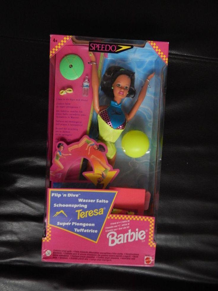 BARBIE DOLL FLIP DIVE SPEEDO SPANISH TANNED TERESA SWIMSUIT NEON YELLOW 1997