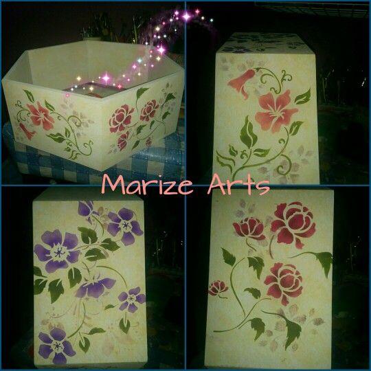 Marize Arts e o nicho colméia para guardar tintas. Esponjado e pintura com stencil.