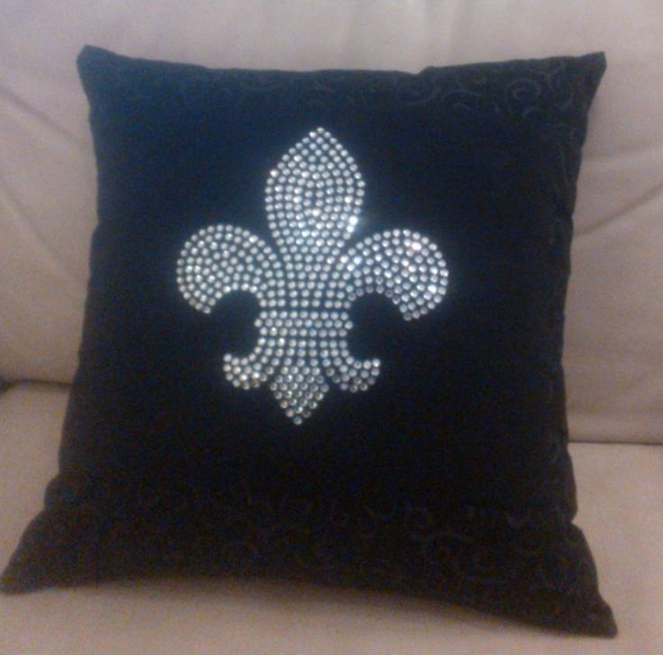 Fleur+de+Lis+Pillow+in+Black+and+Silver+Rhinestones+by+SewManyTees,+$35.00