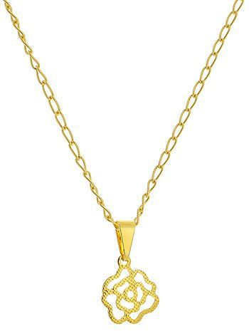 Gargantilha infantil pingente folheados a ouro. Pingente feito de chapa estampada em forma de uma flor. SUGESTÃO: Clique no link abaixo e veja este lindo par de brincos para combinar com esta gargantilha: http://karlabijuteriasfinas.loja2.com.br/...