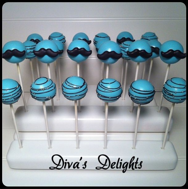 Mustache Cake Pops by @Divas Delights in KC Bakes Cake Pop Stands.