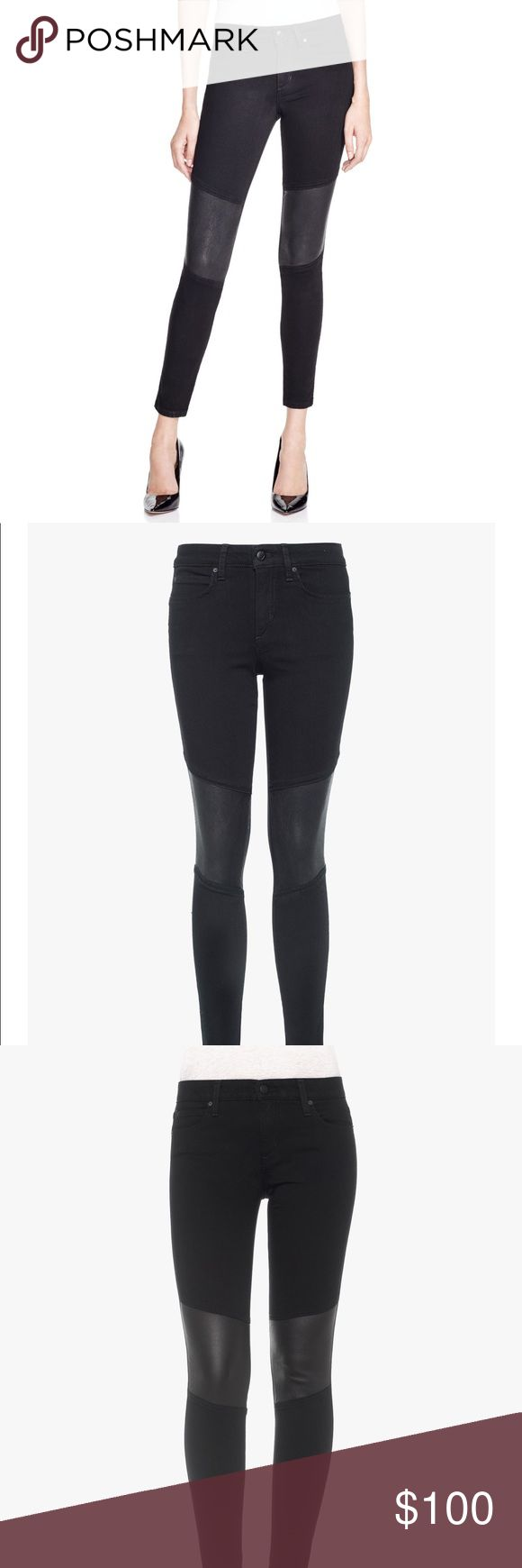 Black leather knee joe's Phoenix skinny ankle jean NEW NEVER WORN, price tag not included but tag in waist is there as shown in picture. The Phoenix Skinny Ankle in Regan is a black on black rinse denim with leather inserts at the knees for a sleek, rocker look. Utilizing our gravity-defying Flawless fabric technology, this mid rise skinny ankle is as flattering as it is glamorous. Women's Jeans  56% RAYON, 25% COTTON, 18% POLY Joe's Jeans Jeans Skinny