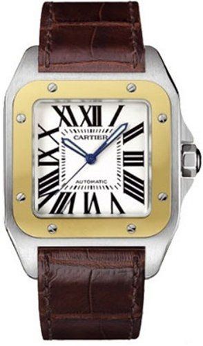 Cartier Men's W20072X7 Santos 100 XL Automatic Yellow Gold Stainless Steel and Leather Watch - www.carrywatches.com