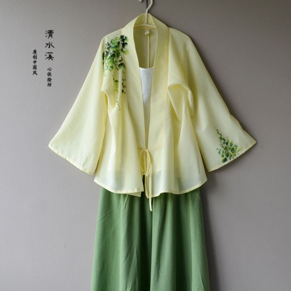 醉花陰—清水溪原創中國風女裝手繪改良漢服女裝對襟長袖雪紡上衣