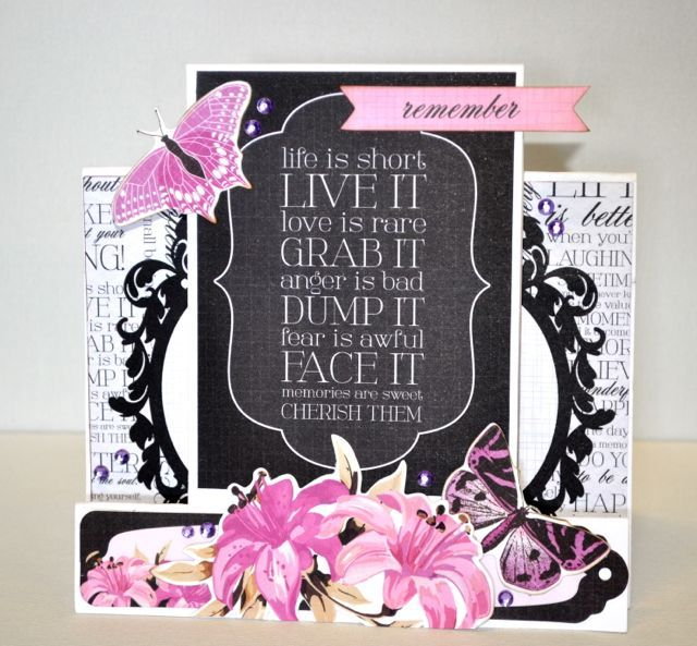 A step card made using the Violet Crush Collection from Kaisercraft. By Kelly-ann Oosterbeek.