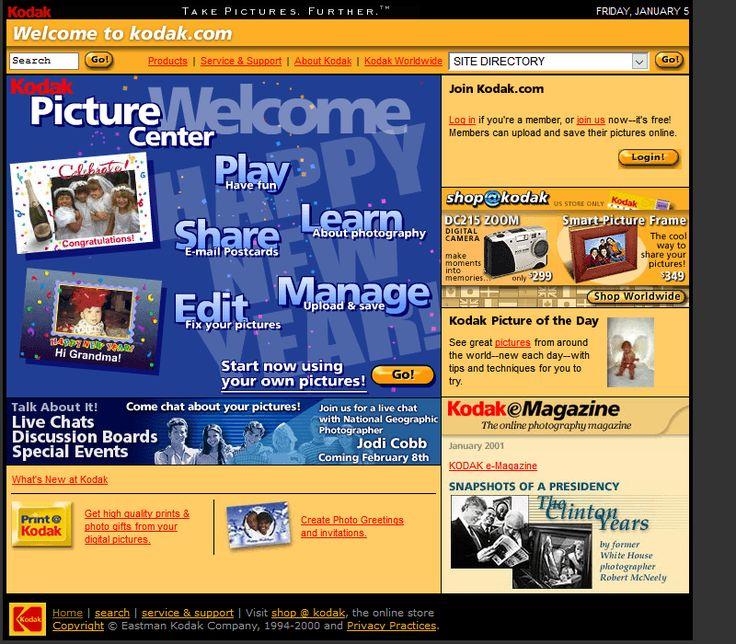Kodak website in 2001