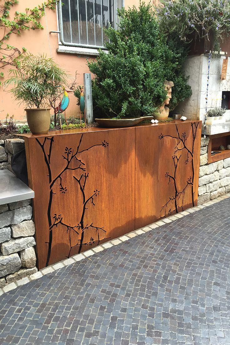 Metallideen Fur Den Garten Cortenstahl Motiv Aste Sichtschutzwande Gartenskulpturen Garten