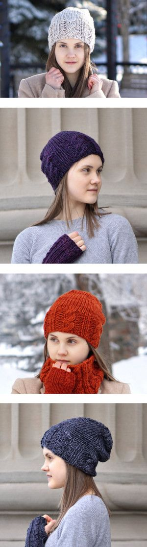 Cable Hats by valeriebaberdesigns on Polyvore featuring women's fashion, accessories, hats, slouchy hat, merino hat, slouch hat, purple hat, merino wool hat, wool hat and woolen hat