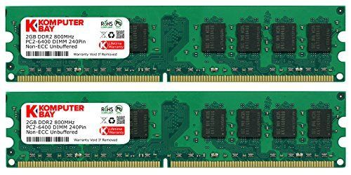4GB 2X 2GB DDR2 800MHz PC2-6300 PC2-6400 DDR2 800 (240 PIN) DIMM Desktop Memory * 100% Compatible with Desktops * 2x2GB PC2-6300 PC2-6400 DDR2 800 Mhz. Supports Dual Channel * Compatible with desktops that support DDR2 240 pin memory * (Placed within the Amazon Associates program) * 13:32 Mar 7 2017
