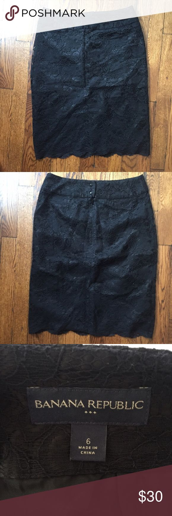 BANANA REPUBLIC skirt Black lace skirt with scalloped edge. Beautiful in great condition! Banana Republic Skirts
