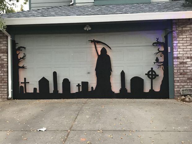 Halloween Garage Door Silhouette Halloween garage door and - halloween garage ideas