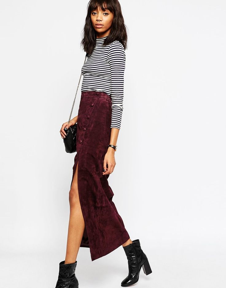 Image 4 ofASOS Maxi Skirt with Thigh Split in Suede