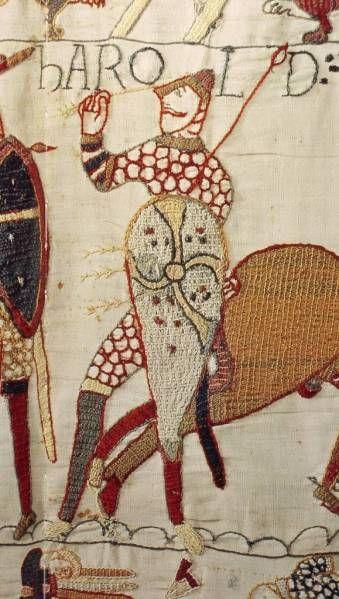 Harold rendu aveugle par une flèche  Broderie de Bayeux XIe siècle
