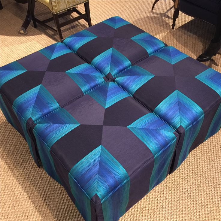 Fall 2016 HPFM Trends - pull apart ottoman with optical illusion fabric!