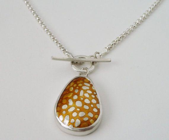 Cobblestone Pendant in Sterling and Fine Silver and Enamel