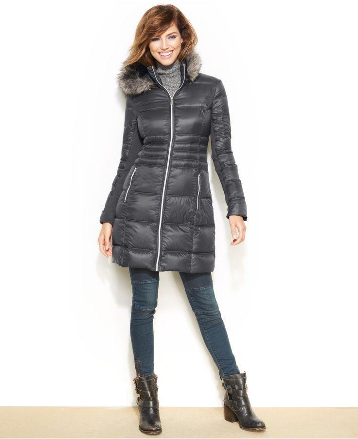 BCBGeneration Packable Faux-Fur-Trim Hooded Down Puffer Coat - Coats - Women - Macy's