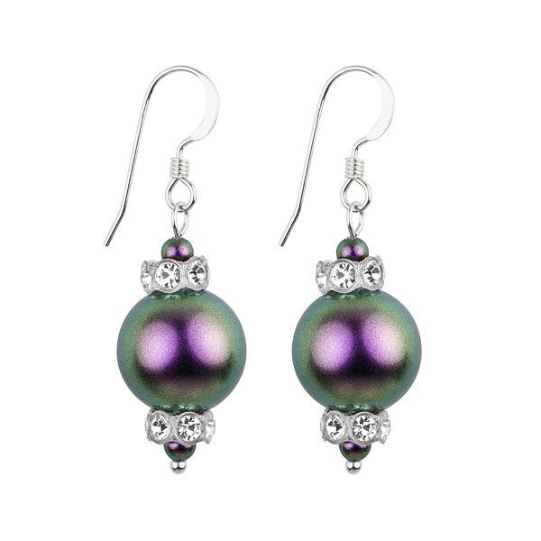 Fülbevaló inspiráció #Iridescent #Purple színű #Swarovski gyöngyökből.