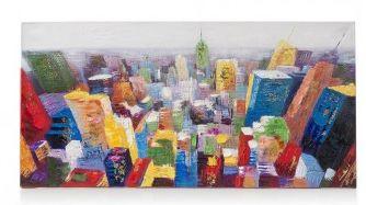 Dit vrolijke schilderij Big apple van Youniq is een echte aanrader! De mooie skyline heeft echte diepte en is door de verschillende kleuren goed te combineren! Bij dit mooie schilderij voel je de verf heel duidelijk op het doek zitten, je ziet het er ook een beetje 'op' liggen.