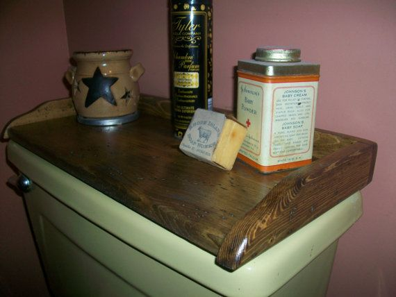 Primitive Wood Toilet Tank Cover Top Tray Stained And