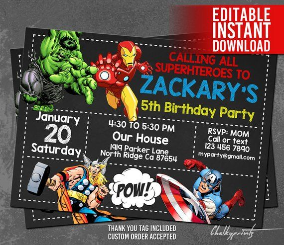 Welcome To Chalkyprintz Download And Edit Our Printable Templates Now No Avengers Birthday Superhero Birthday Invitations Superhero Birthday Invitations Boys
