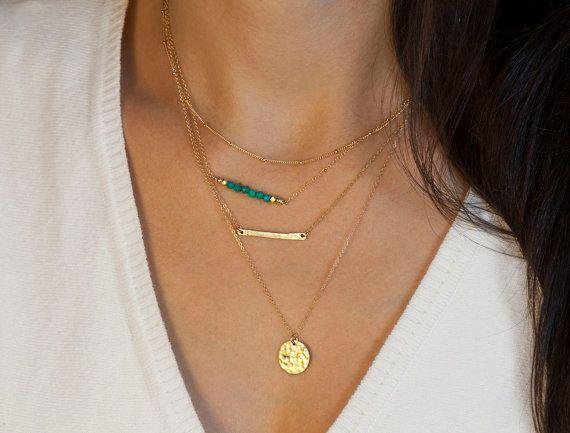 Superposition des colliers Set / / choisir des colliers d'argent ou d'or / / minimes 14K or remplissage délicats colliers or avec pierres précieuses