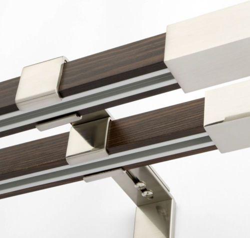 Innenlauf-Gardinenstange-2-Laeufig-Holz-Stahl-Stange