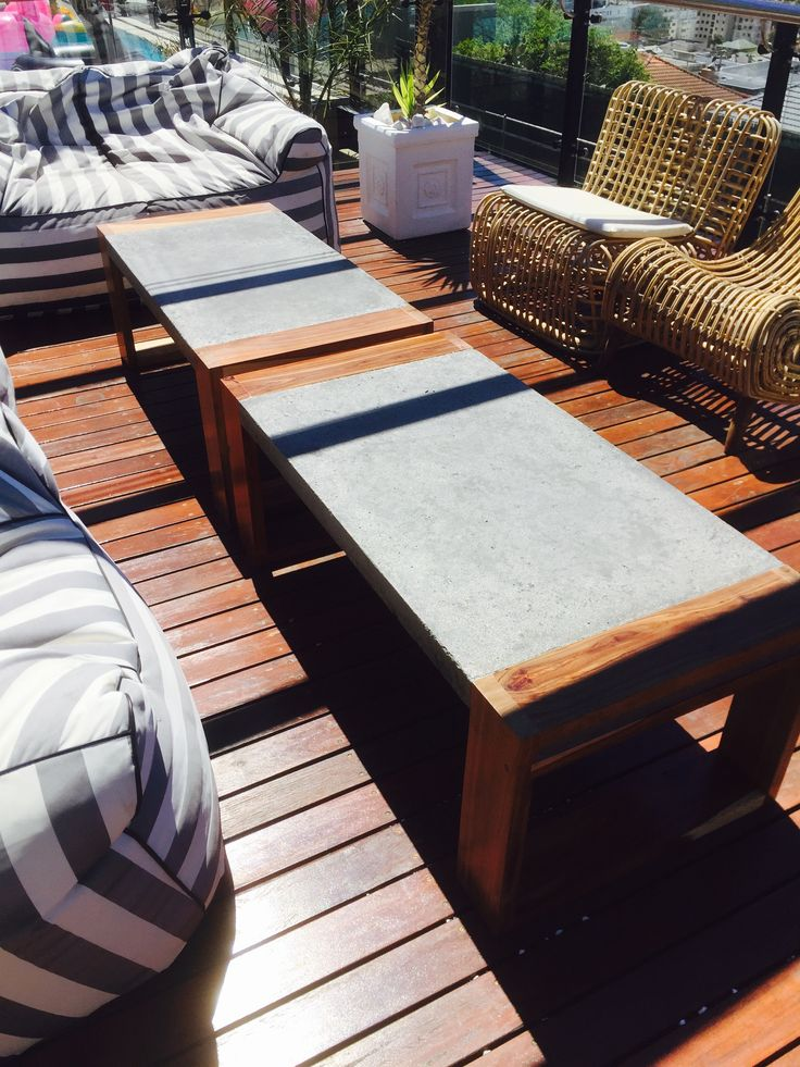 Concrete and kiaat wood outdoor coffee table by Tinsley woodcrafters