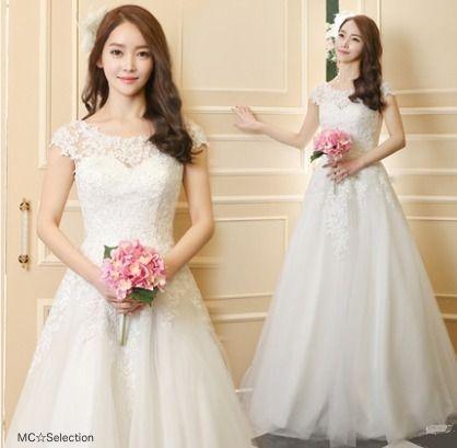 ウェディングドレス フラワーレースフレンチスリーブ☆Aライン☆ウエディングドレス