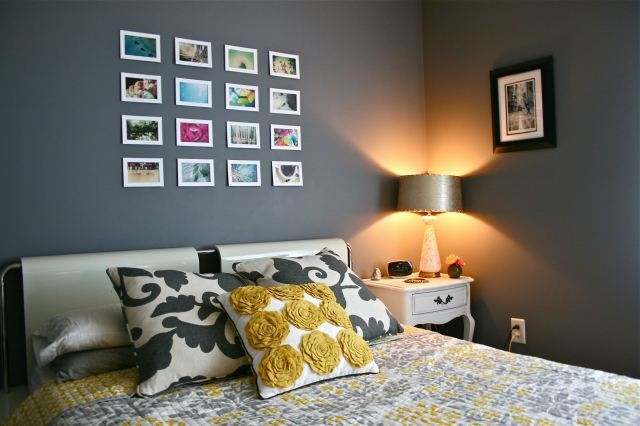 Love the wall color and the pictures above the bed
