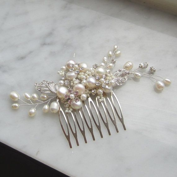 Pearl Bridal Hair CombSophia Hair Comb Bridal by adrianasparksacc